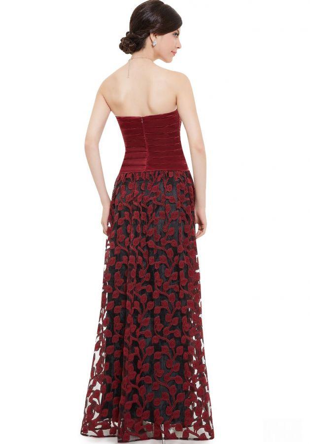 červené společenské šaty dlouhé rudé s krajkou - plesové šaty ... a0232d1917d